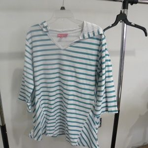 Teal striped 3/4 sleeve tunic